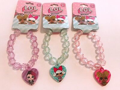 3 PCS LOL Surprise Girls Fashion Accessories Beaded Bracelet with Charm