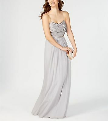 $299 Adrianna Papell Women Gray Beaded V-Neckline Long Chiffon Gown Dress Size 4