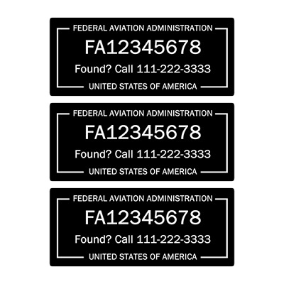 """FAA Drone Labels / Stickers in BLACK Color, Set of 3, 1.875"""" x 0.875"""""""