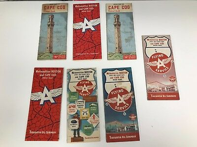 Lot Of 7 Vintage 1950's/60's Metro Boston And Cape Cod Flying A Road Maps