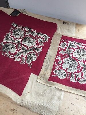 2 Vintage Deep Red Hand Made Needlepoint/tapestry Stool And Chair Covers