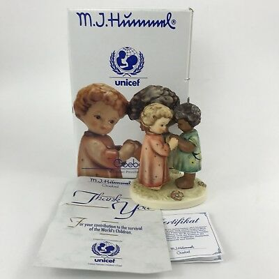 "Hummel Figure Hum 662/0 Friends Together # 104 Box Certificate 4 3/8"" Unicef"