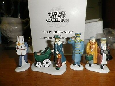Dept 56 CHRISTMAS IN THE CITY Busy Sidewalks  Mint In Box 55352-FREE SHIP   140