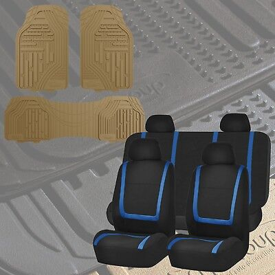Flat Cloth Seat Covers Blue & Black with Classic Rubber Trimmable Floor Mats