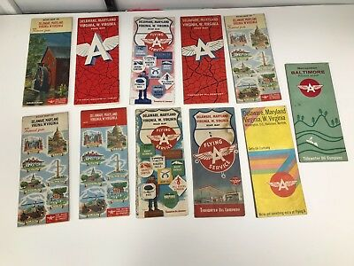 Lot Of 11 Vintage 1950's/60's Delaware, Maryland, Virginia Flying A Road Maps