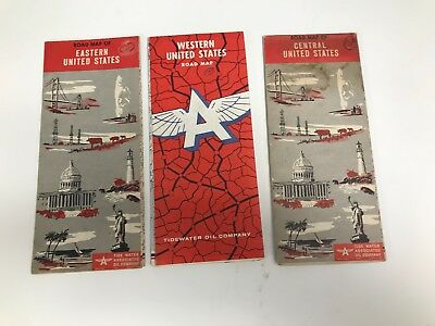 Lot Of 3 Vintage 50's Western, Eastern, Central United States Flying A Road Maps