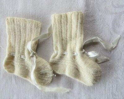 Vintage Hand Knit Baby Booties Ivory with White Ribbon