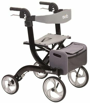 Drive Medical Nitro Euro Rollator Folding Walker Adult 4 Wheels 10266BK!M22