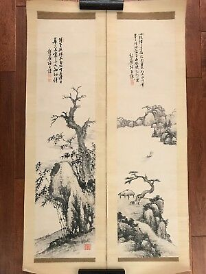 Pair Antique Watercolor Painting Scroll by Korean Master Artist Oriental Asian