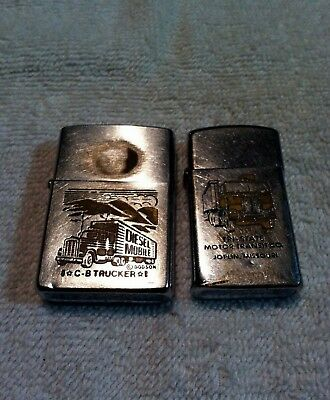 "Vintage 1970's Lot Of 2 Zippo Lighter Advertising""trucking Co.""great Graphics!!"