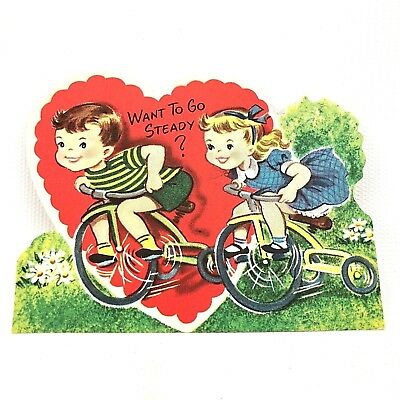"""Vtg 40s 50s Tricycle Bike Boy & Girl Valentines Day Card Gibson Holiday 4"""" Heart"""