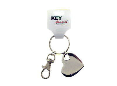 Silver Tone Heart Key Ring Sparkle Glitter Bling
