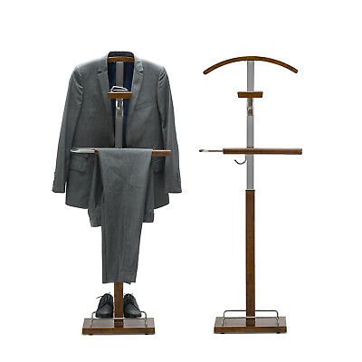 Timber Valet Stand Honey Oak Steel Hanger Clothes Coat Hat Bag Suit Trousers