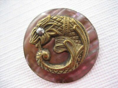 """Vintage Med 1-3/16th"""" Mother Of Pearl MOP Shell Brass Fab Creature Button P143"""