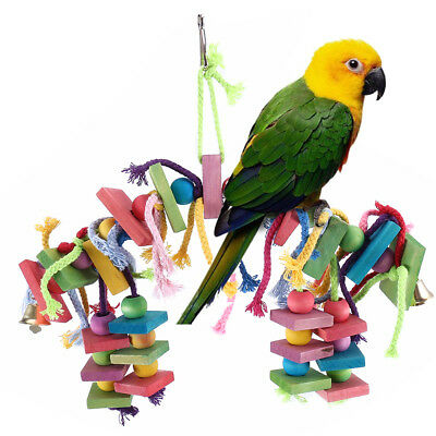 Pet Parrot Bird Chew Toy Cages Hang Toy Legno Grande corda Cave scaletta Campane