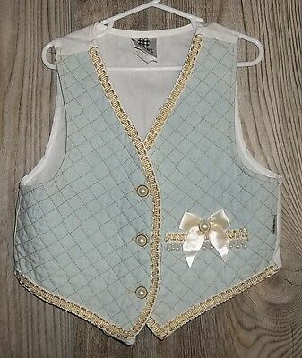 Vintage Vest Girls 6 Pearl Embellished Chambray Quilted Metallic Western