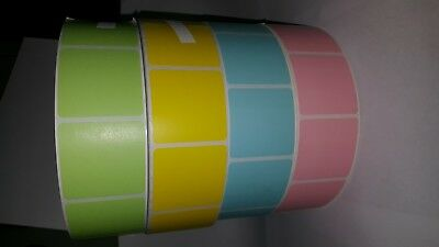 """1 Roll of 2"""" x 2"""" Thermal Transfer Labels 3"""" Core 3000 labels per roll 4 COLORS!"""