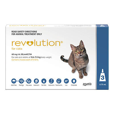 Revolution Cat 2.6-7.5kg 3 Pack Kill Flea & Heartworm Treatment for Cats and Dog