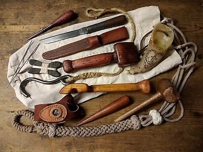 Sailor-tools-amp-Ditty-Bag-serving-mallet-fid-knife-palm-grease-horn-seam-rubber