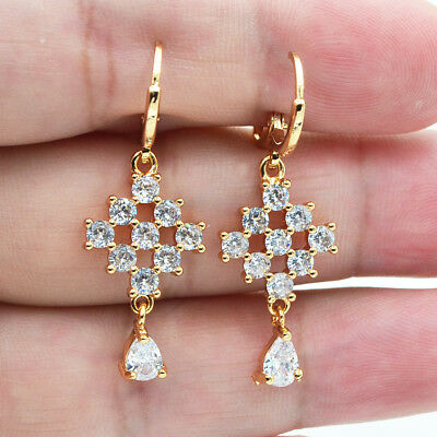 18K Yellow Gold Filled Hollow Rhombus Teardrop White Topaz Zircon Drop Earrings