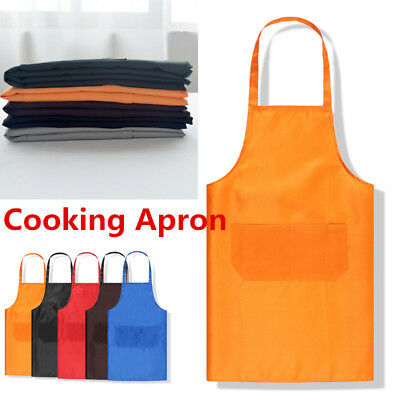 Multi-color Kitchen Cooking Bib Apron With Pocket Thicken Cotton Polyester Blend
