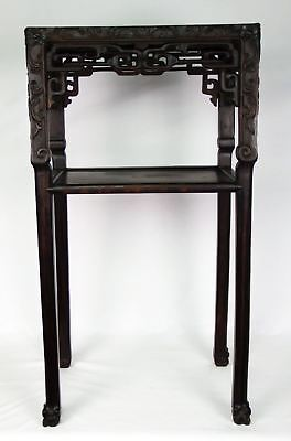 Antique Chinese Qing Carved Rosewood Marble Top Side Table