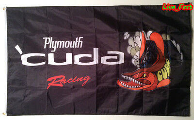 PLYMOUTH BARRACUDA 'CUDA RACING FLAG BANNER hemi muscle car collectable sign