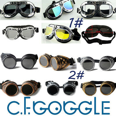 Vintage Victorian Steampunk Goggles Glasses Welding Cyber Punk Gothic Cosplay  R