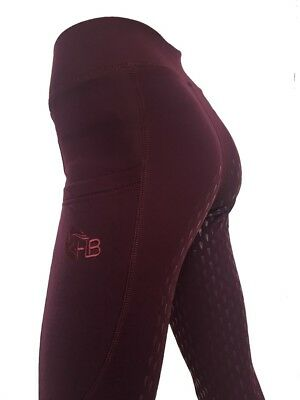 Ladies Silicone Grip Fleece Riding Tights Black Navy Burgundy or purple