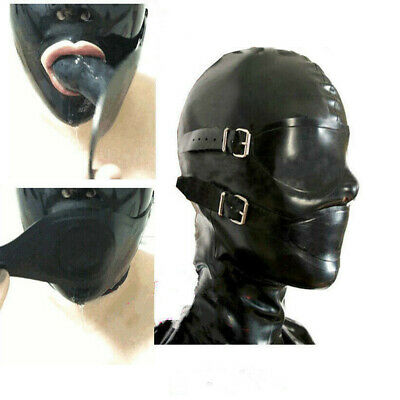 974 Latex Rubber Full Enclosure Hood Rubber Hood with Eyeshade and Gag NOSE TUBE