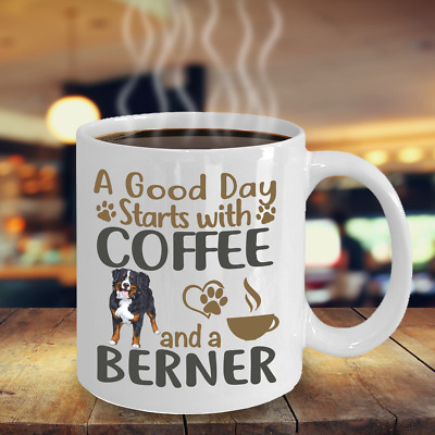 Coffee With Bernese Mountain Dog Coffee Mug,  Bernese Mountain Gift Mug,