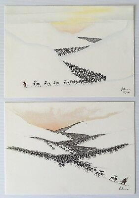 "2x NICKOLAUS SKUM PAINTINGS POSTCARDS ""Vinterflyttning"" Lapland Finland Finnish"