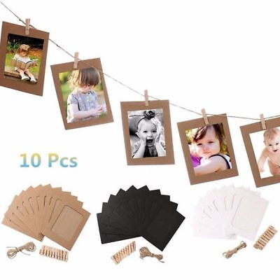 10 × DIY 3*5inch Paper Photos Wall Hanging Frame Album Rope Clips Set Home Decor