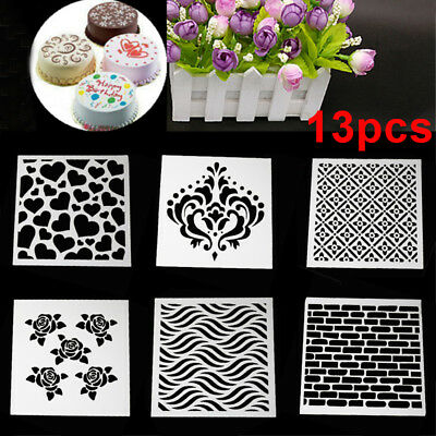 13pcs/set Embossing Template Scrapbooking Walls Painting Layering Stencils AU