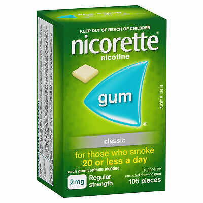 Nicorette 2mg Chewing Gum Classic 105 Smokers Aid Nicotine Replacement Therapy
