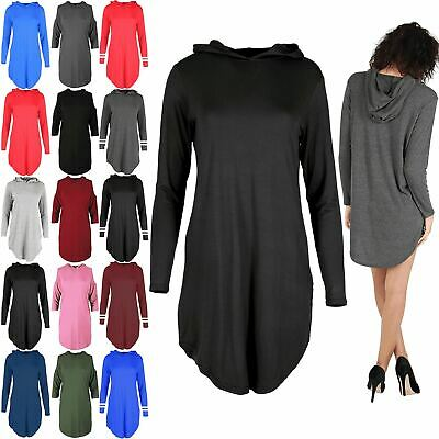 Womens Curved Hem Hoodies Plain Long Sleeves Loose Baggy Ladies Dress Plus Size