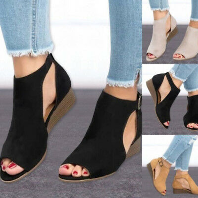 Womens Ankle Strap Sandals Wedge Heel T strap Peep Toe Buckle Shoes Plus Size US