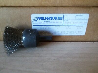 "MILWAUKEE WIRE END BRUSH #20427 1"" DIA .006 WIRE 1/4"" SHANK (Lot of 3)"