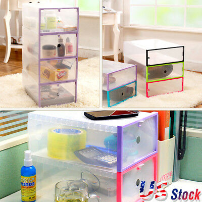 1-20pcs Plastic Shoes Boots Storage Box White Clear Stackable Foldable Organiser