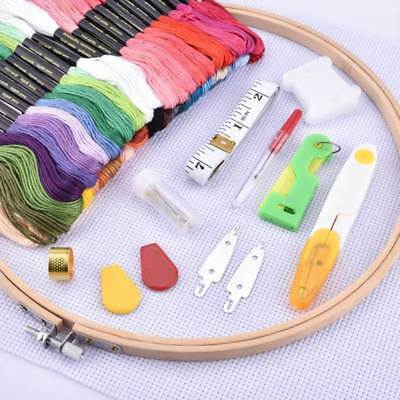 Whole Set Cross Stitch Embroidery DIY Tools -50 Threads+Hoop+Fabric+Noodle Kit