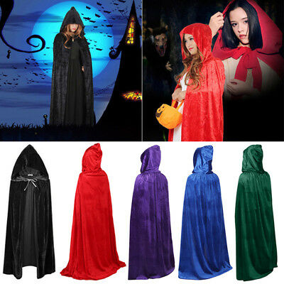 Halloween Hooded Velvet Cloak Cape Medieval Costume Witch Wicca Vampire Robe