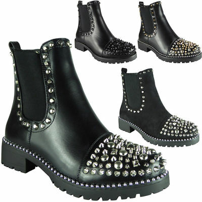 New Womens Ladies Studded Goth Zip Ankle Boots Guesset Chelsea Fashion Shoe Size
