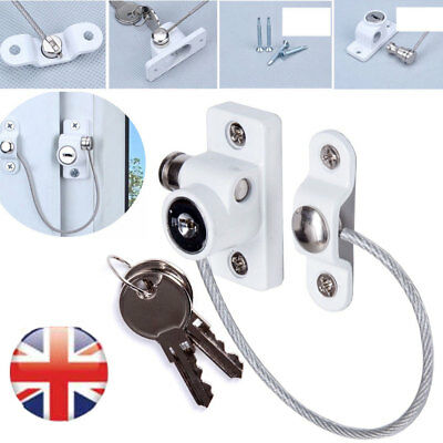4x White Window Door Cable Restrictor Ventilator Child Safety Security Lock