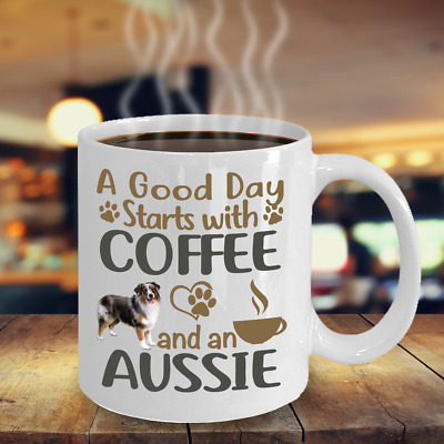 Coffee With My Aussie Dog Mug, Australian Shepherd White Coffee Mug, Aussie Gift