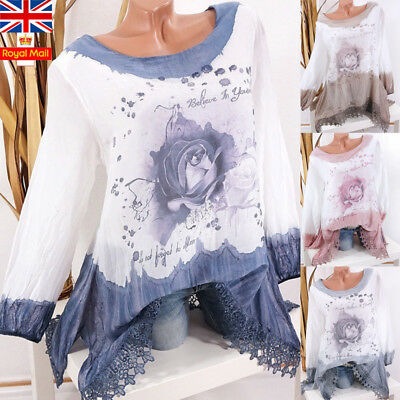 UK Plus Size Women Floral Lace Tops Long Sleeve Ladies Casual Loose Blouse Shirt