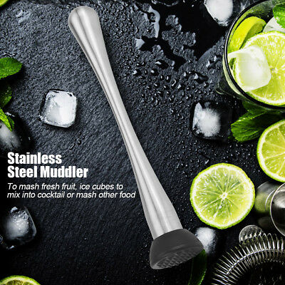 Stainless Steel Cocktail Ice Muddler press Masher Bar Drink Mixer Utensil Tool