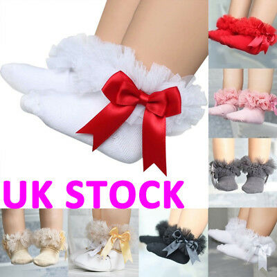 UK Newborn Baby Girls Bowknot Tutu Socks Toddlers Infants Cotton Frilly Sock