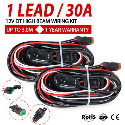 Wiring Loom Harness Kit Fuse Relay Switch 12V DC LED Work Driving Light Bar