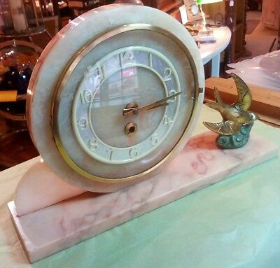 Antique art deco mantle clock, marble base and surround , 8 day, non striking