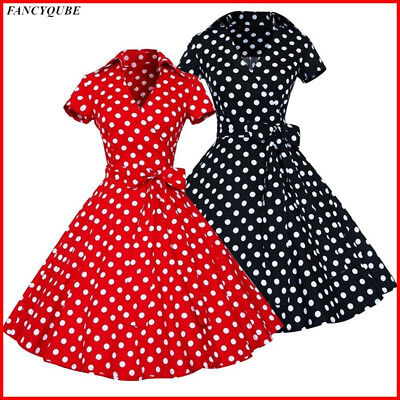 Women Vintage V neck Polka Dot Dress Bowknot 50s 60s Swing Pinup Retro Housewife